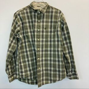 Timberland Green and White Plaid Button-Down Shirt